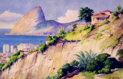 Felisberto Ranzini (1881 - 1976) Pão de Açúcar Aquarela 33 x 50 cm.