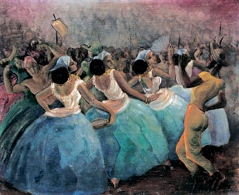 Gilberto Trompowsky (Brasil, 1912-1982)escola de samba, osm, 1953, 38 x 46 cm