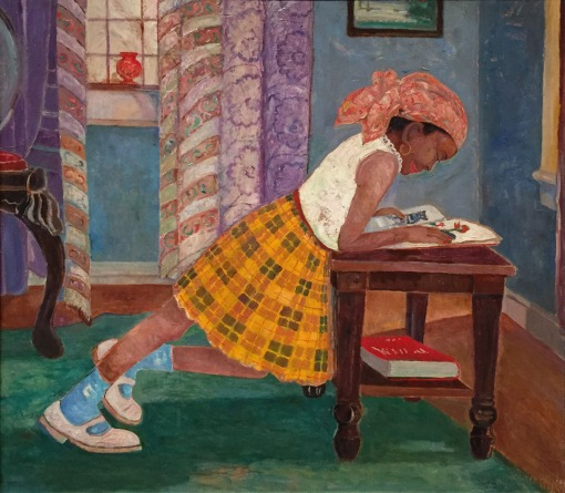 Hayden, Young Girl Reading, a late (1960) painting by Harlem Renaissance artist Palmer C. Hayden.
