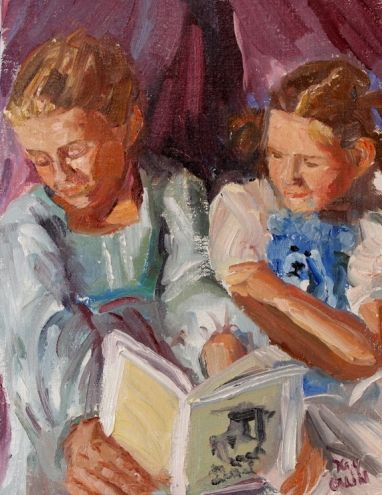Lauren and Maddie read a book, painting by artist Kay Crain