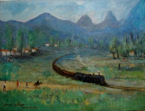 MANOEL SANTIAGO Paisagem com ferrovia Teresópolis O.S.T. 53 x 69 cm 1945 a.c.i.e.