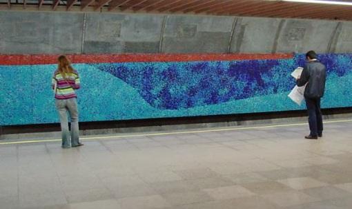 """metro_TOP.jpgPainel """"Quatro Estações"""", de Tomie Otake, na estação Consolação."""