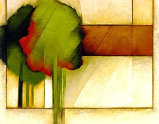 Olímpia Couto,Composição c árvore vestse,1989, 90 x 70cm