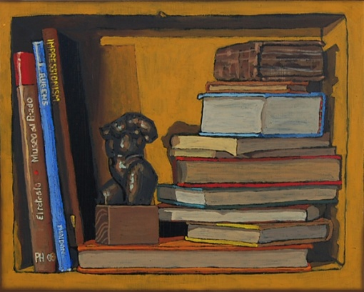 Paul Herman (EUA, 1962) Bookshelf III, Books with Bronze Torso, Oil painting on panel 21 x 25 cm