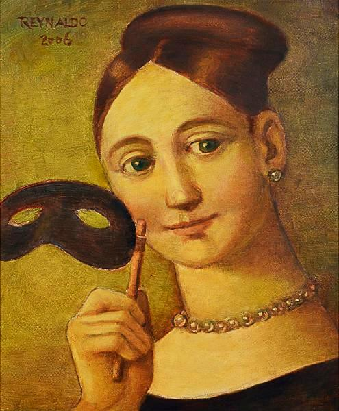 REYNALDO Fonseca (1925) Figura com máscara, o.s.t. - 46 x 38 cm. Ass. e dat. 2006
