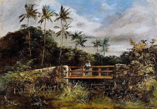 TELLES JÚNIOR, Jerônimo José,Paisagem,óleo s tela, ass. inf. esq. e dat. 1882 inf. dir.32 x 46 cm