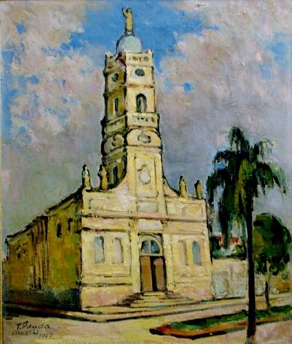 TOMOO HANDA - 1906-1996- Catedral de Cuiabá, MT - Iconográfico , Óleo sobre tela, Assinado canto inferior esquerdo, de 1950, acompanha moldura da época, Medindo 66 x 56 cm