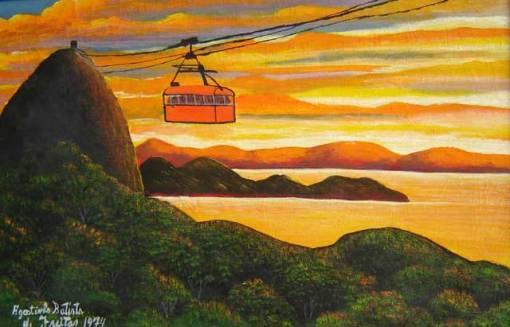 """Agostinho Batista de Freitas (1927-1997) """"Bondinho do Pão de Açúcar"""" (1974) Óleo sobre tela 42 x 64 cm."""