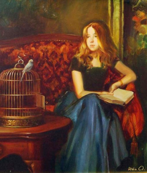 Alexander Utkin (Russia, contemporâneo) Pássaro em gaiola de ouro, ost, 61x51cm