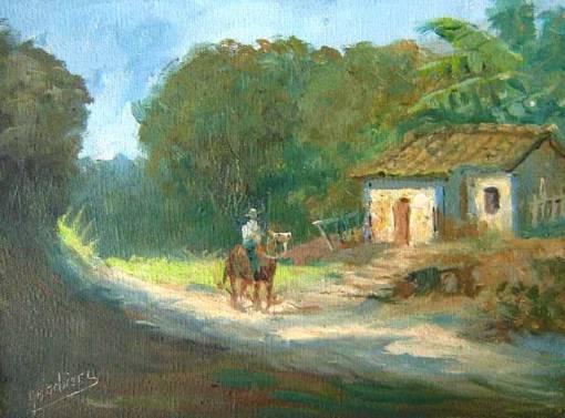 Arnaldo Barbieri, Paisagem com cavalo, ost, 18x24
