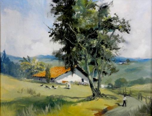 Benedito José Tobias - Paisagem campestre - Óleo sobre tela - 50 x 65 cm