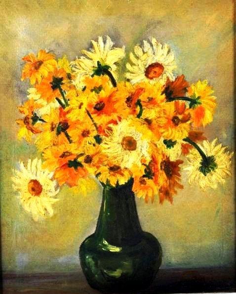CANDIDA GUSMÃO (grupo Bernardelli) - vaso de flores, óleo sobre tela, 46X38cm.