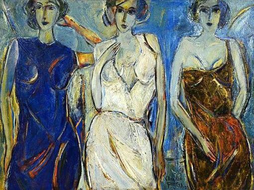 CLAUDIO FONTES - As Três Graças (XXX) - ost - 90 x 120 - Datado 2003