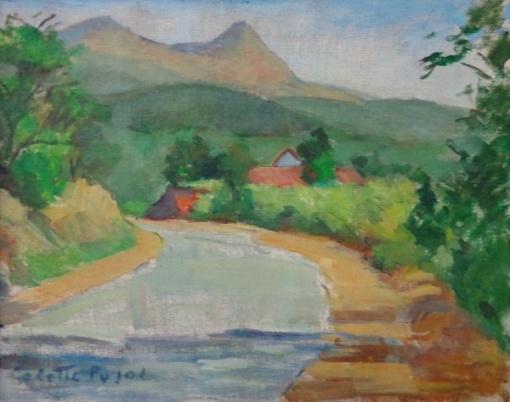 Colette Pujol - Curva de Rio - Óleo sobre tela - 27,5 x 34,5 cm