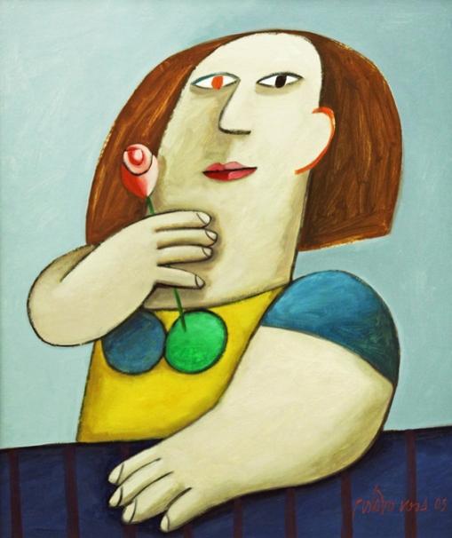 Gustavo Rosa, (Brasil 1946) Mulher com ros, 2005, ost,65x54cm