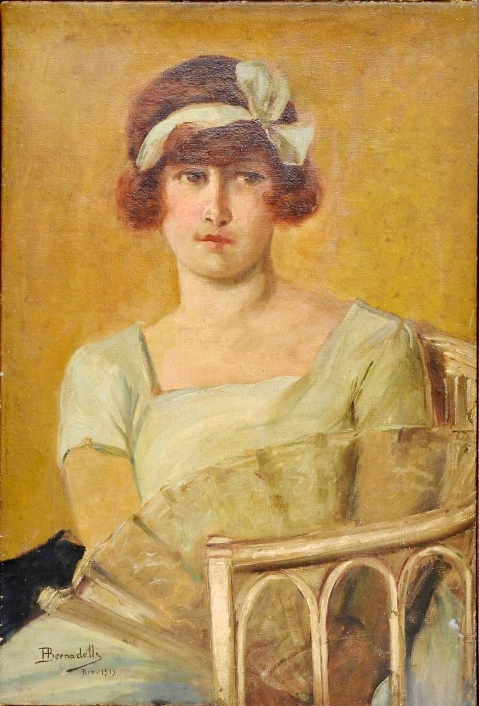 HENRIQUE BERNADELLI - Moça OST, 1919. Med. 65x45 cm.