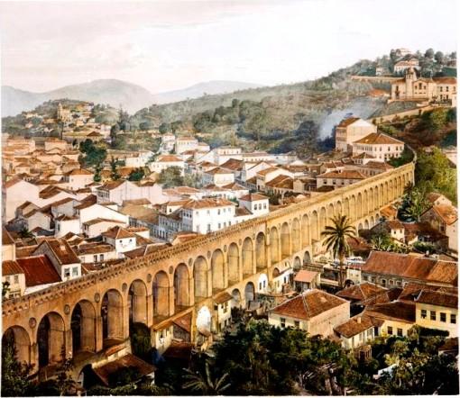 J Steinmann, Aqueduto do Rio de Janeiro, litogravura aquarelada, 47x58