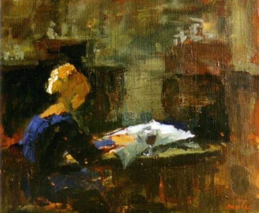 Malie Baehr, Verkocht, moça lendo, 1998, 35x30cm