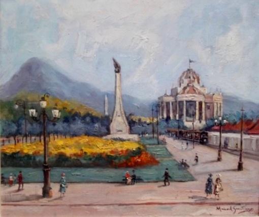 Manuel Santiago. Paisagem do Rio de Janeiro com Palácio Monroe, óleo sobre madeira, med. 47 x 57