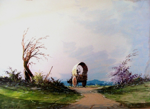 Manzke, Carroça na estrada, aquarela