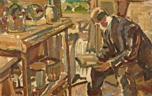 Maurice Albert Loutreuil (França, 1885-1925) homem lendo, ost