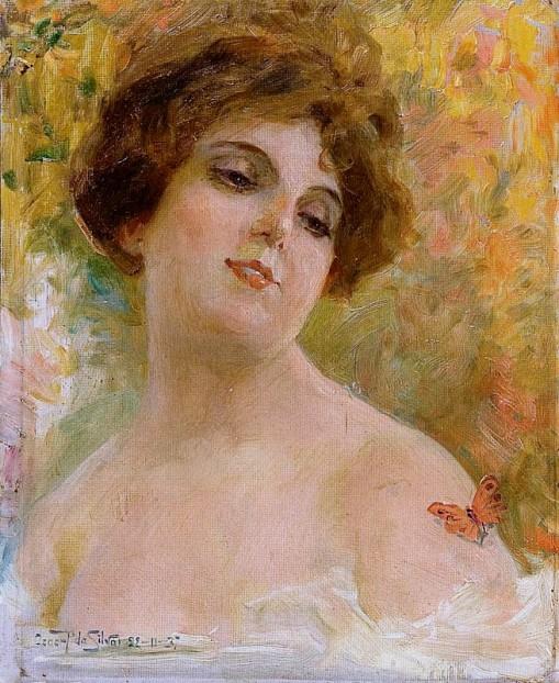Oscar Pereira da Silva,Mulher e borboleta,1937,oscartão - 28 x 23 cm