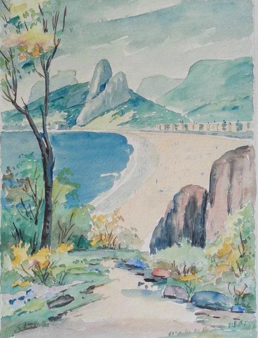paulo-gagarin-praia-do-leblon-aquarela-, 1959, 28 x 36 cm