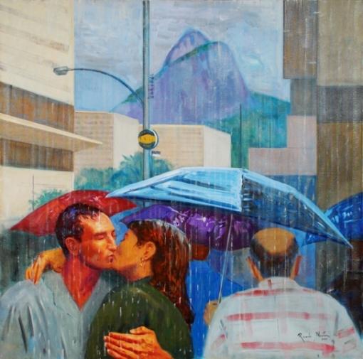 RICARDO NEWTON. Beijo na chuva, óleo stela, 120 x 120 cm.