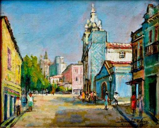 SINHA D'AMORA- Praça da Lapa com igreja do Carmo, óleo sobre eucatex, 33 x 41 cm. Assinado e datado no verso 1973.