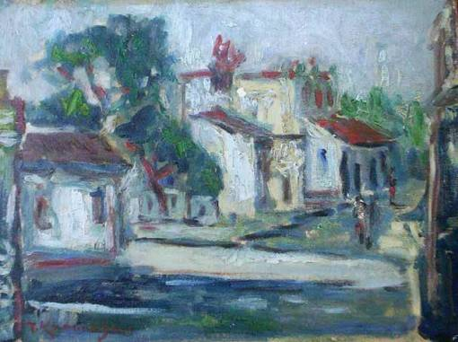 Tadashi Kaminagai (1899 - 1982)Manaus (1964)Óleo sobre tela,30 x 40 cm