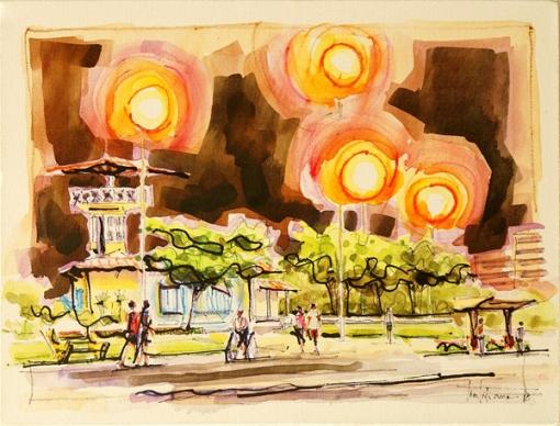 Tintiliano, (Brasil, 1981) Cidade à noite, aquarela sobre tela, 30x40, 2008 aracaju