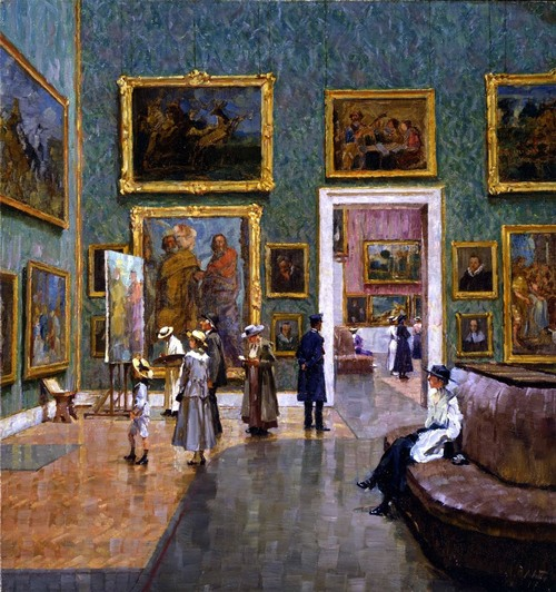 A Visit to the Munich Pinakothek (1917). Charles Friedrich Alfred Vetter (German, 1858-1936). Oil on canvas.
