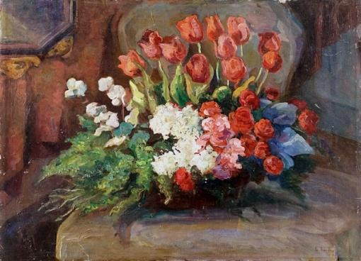 ARTHUR TIMÓTEO DA COSTA. Flores o.s.t. 69 x 94 cm assinado, datado e situado Rio 1920