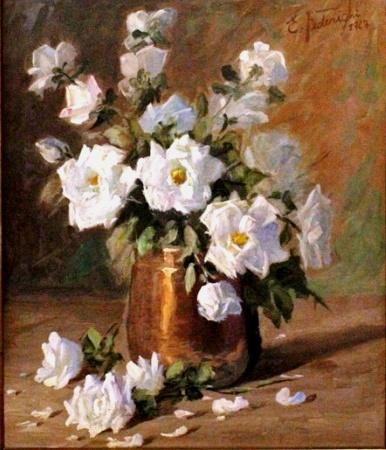 Ettore Federighi - Vaso de flores - Oleo sobre tela - assinado no canto inferior direito e datado de 1967- Medindo 52 x 64 cm.