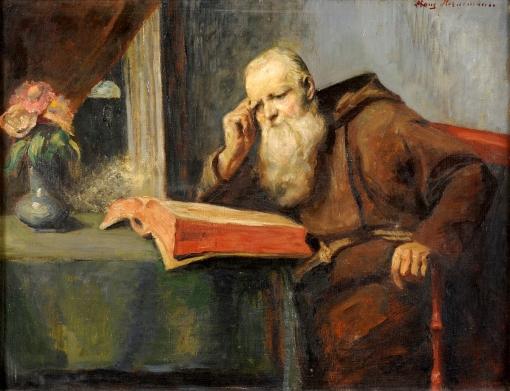 Hornemann, Friedrich Adolf 1813 Hannover - 1890 Düsseldorf Im Scriptorium. Signiert. Öl-Lwd., 46 x 60 cm