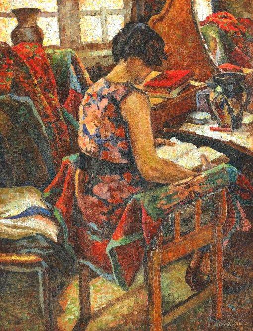 Leon Viorescu (Romanian painter, 1886–1936)Mulher lendo,