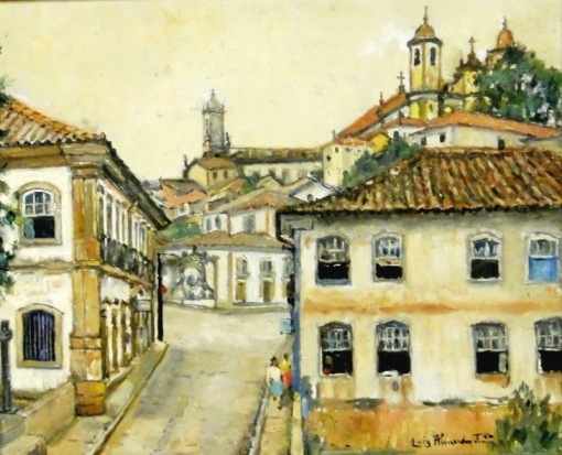 LUIZ DE ALMEIDA JÚNIOR (1894-1970)Casario e igrejas em Ouro Preto-MG,1963,ost, 50 X 60