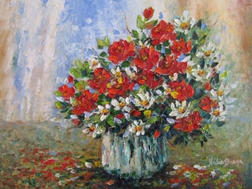 NADIA BRAGA - Flores, ost, 30x40cm, assinado