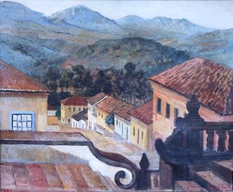 OLDACK DE FREITAS- Tiradentes. Óleo sobre tela, 53 x 65 cm. Assinado no canto inferior direito 1960.
