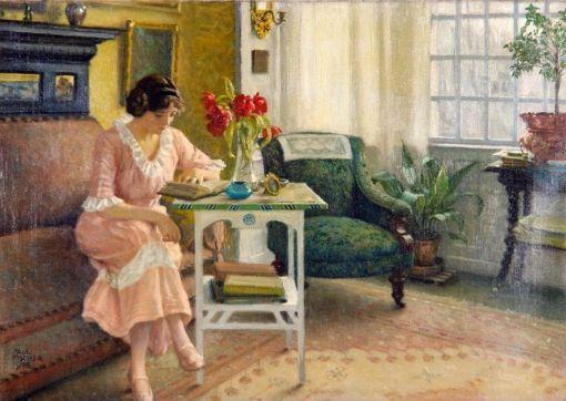 Paul Gustave Fischer, esposa do pintor lendo em Sofievej, 1916