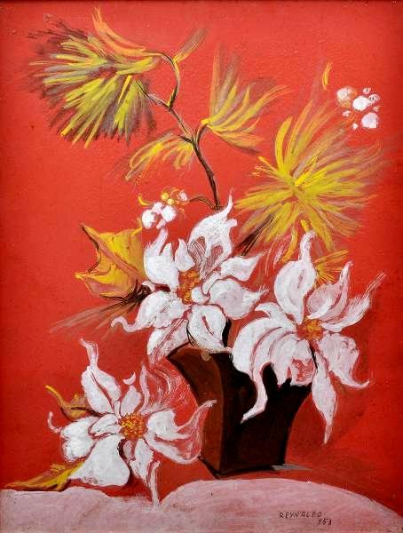 REYNALDO FONSECA (1925) - Natureza Morta- Vaso de Flores, técnica mista, óleo sobre papel cartão, med. 63 x 49cm, assinado e datado 1953.
