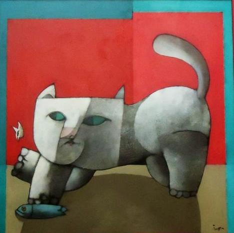 Acrílica sobre Tela do artista Inos Corradin, Medidas 60 x 60 cm.