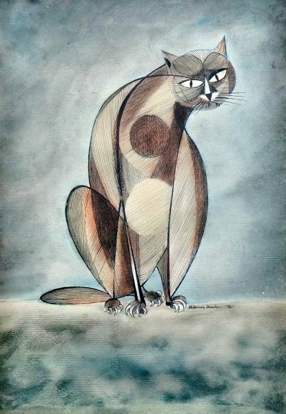 ALDEMIR MARTINS - Gato - Nanquim Aquerelado CID - 1961 - 33 x 23 cm