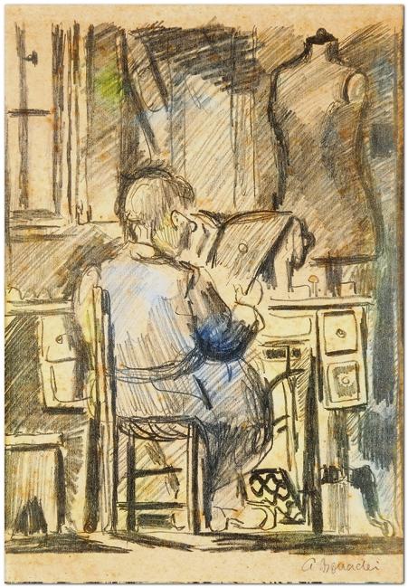 Aldo Bonadei, (1906-1974) Homem lendo, tec mista, 25x17cm
