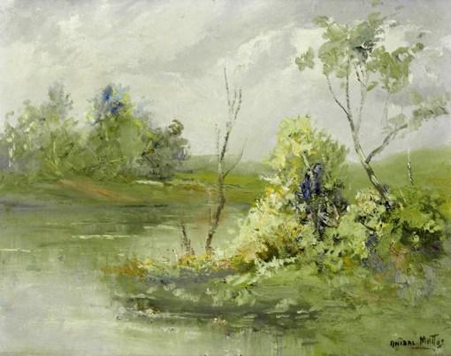 Aníbal Mattos, Paisagem com rio, ose, 35 x 45 cm