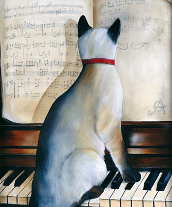 Carlos Anesi (1945),O som do gato,Óleo tela - 63 x 53 cm