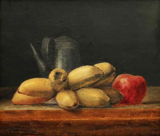 CARLOS CHAMBERLLAND (1884-1950) - Natureza Morta - Frutas e Bule, pintura a óleo sobre tela, med. 25 x 29cm