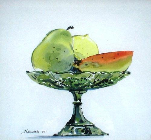Carlos Mancuso,aquarela s papel,27 x 30cm, ass. dt. 80