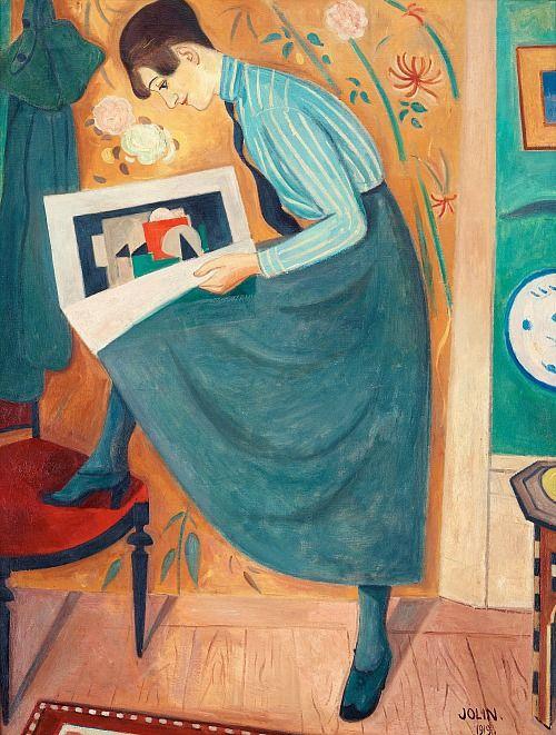 Einar Jolin Young Woman Reading an Art Magazine