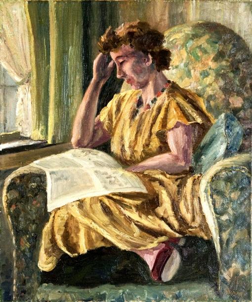 GESTEL, Leo - Interieur mit lesender Frau, ost, 50x60, decada de 30